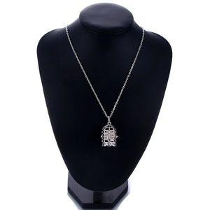 3/$30 Silver Bird Cage Aromatherapy Necklace B25